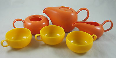 Ideal Russel Wright Child's Toy Tea Set American Modern Plastic 6 Pieces MCM