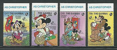 The Gambia # 1227-1230 Mnh Disney, Mickey As Christopher Columbus