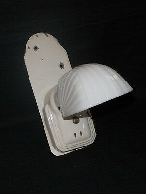 Antique Vintage Single Art Deco c1930 Porcelain Sconce Milk Glass Shade