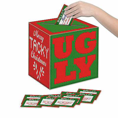 CHRISTMAS Fun Holiday Activity UGLY SWEATER BALLOT BOX with BALLOTS Party Game