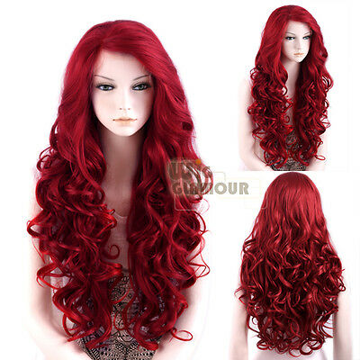 "Long Curly Wavy 26"" Red Lace Front Wig Heat Resistant + 3 Piece Tapes Wigglamour"