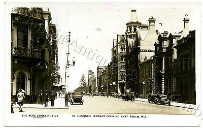 C.1920'S RP NPU POSTCARD ST GEORGES TCE PERTH LOOKING EAST WA ROSE SERIES b47.