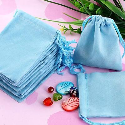 75X Blue Velvet Drawstring Jewelry Gift Bags Pouches HOT