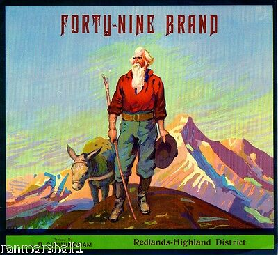 Redlands Highland Forty-Nine 49er Orange Citrus Fruit Crate Label Art Print
