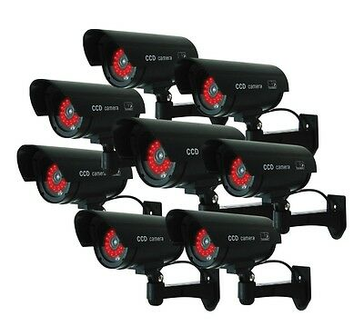 (8 Pack) Black Dummy Bullet Fake Security Camera Cameras,30 Illuminating LEDs