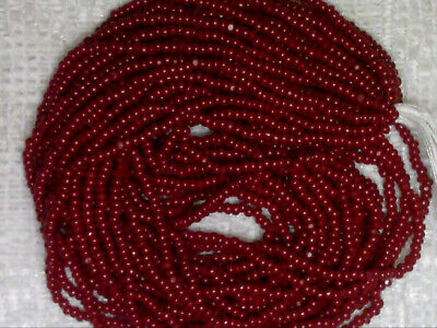 Vintage Antique Red Berry Color Lined Glass Seed Beads 3 Mini Hanks 12//o 20bpi