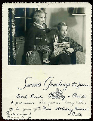 Vintage 1940's Children w/ Night Before Christmas Book Real Photo Greeting Card