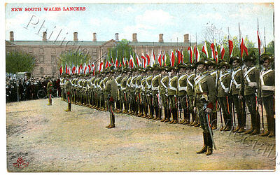 C1905 Pt Npu Military Postcard New South Wales Lancers On Parade Gd Cond. B23