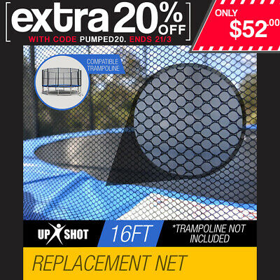 Up-Shot Replacement Trampoline Safety Net Round Enclosure 16ft 12 Pole