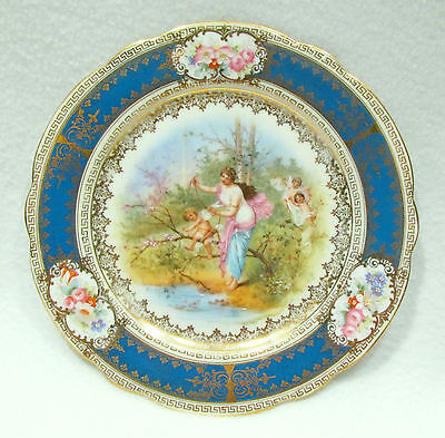 Vintage Imperial Crown China Austria Decorative Plate Teal Gold Classical Motif