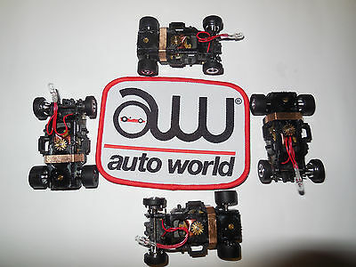 AUTO WORLD ~ 4 FLAMETHROWER CHASSIS WITH CHROME RIMS ~ ALSO FITS AFX, AW, JL