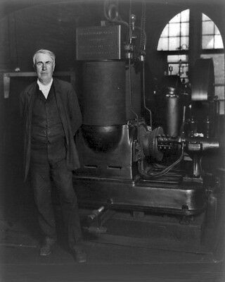 New 8x10 Photo: Inventor Thomas Edison with his Original Dynamo - 1906