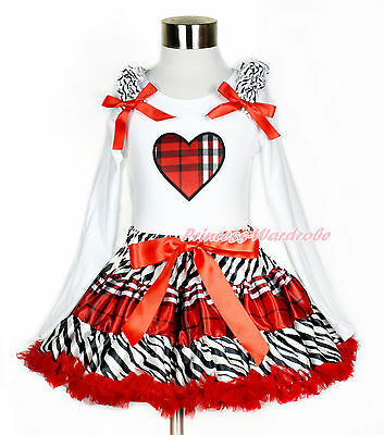Valentine XMAS Plaid Heart Print White Top Zebra Red Black Plaid Girl Skirt 1-8Y