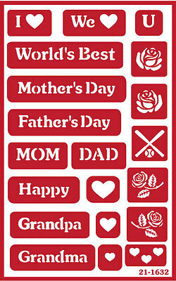 Over n Over Reusable Glass Etching Stencil ~ MOTHER FATHER ASSORTMENT
