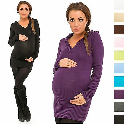 Happy Mama Women's Maternity Stretchy Knit Tunic Jumper Pullover with Hood 421p
