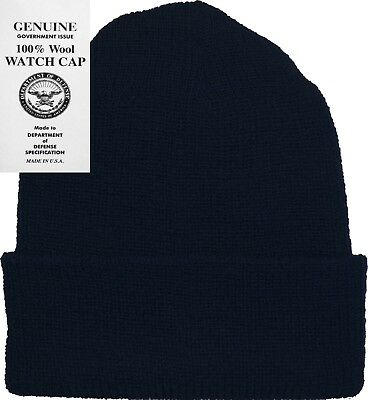 Navy Blue 100% Wool Hat Warm Winter Knitted Watch Cap USA Made