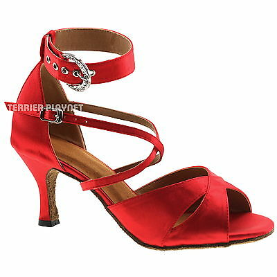 TPS Red Satin Latin Ballroom Salsa Custom-made Dance Shoes D996