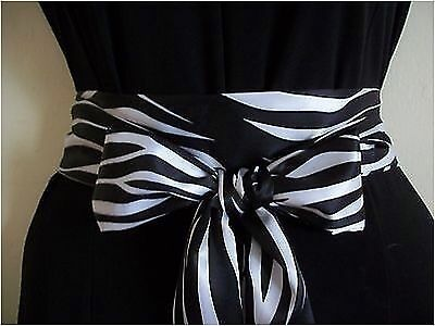 "2.5""x60"" Black White Zebra Animal Print Satin Sash Belt Self Tie Bow For Dress"