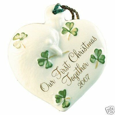Belleek China Our 1st Christmas Together 2007 Ornament New