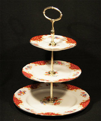 C.1950's Paragon China 3 Tiered Cake Stand Red Rockingham Pattern Top Condition.