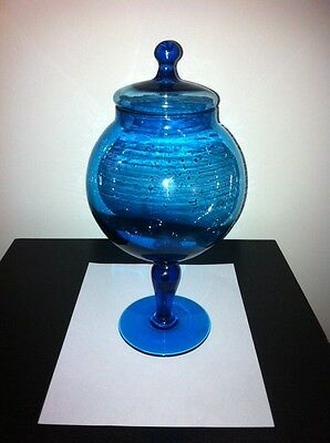 Rare Viking Blue Glass Drape Footed Pedestal Dish With Lid. Hand Made Piece