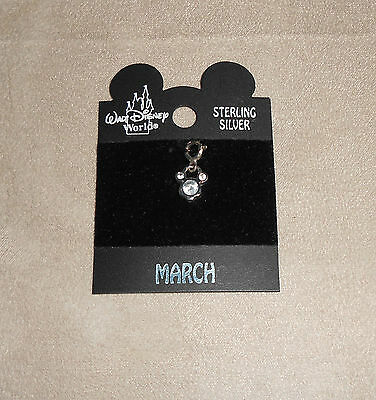 Disney Mickey Mouse Sterling Silver Charm March Birthstone Aquamarine $18 New