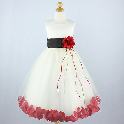 IVORY BLACK WITH RED Flower Girl Dress Petals Formal Recital Prom Birthday Party