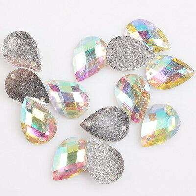 150pcs Faceted Plated AB Waterdrop Sew-on Flatback Buttons Embellishment 10x14mm