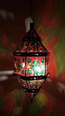 Moroccan rustic red painted glass chandelier, Moorish lantern, art deco, lamp,