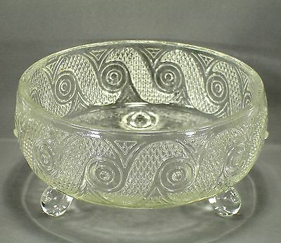 Vintage Avon 3 Toed / Footed Pressed Glass Candy Bowl / Dish