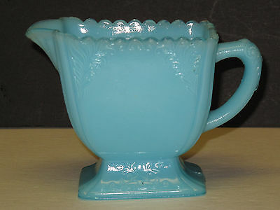 Rare Vintage Antique Glass Glassware Opaque Milk Blue Turquoise Creamer Pitcher