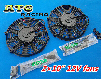 """2* 10"""" 12V Thermo Radiator Cooling Fan & Mounting kit"""