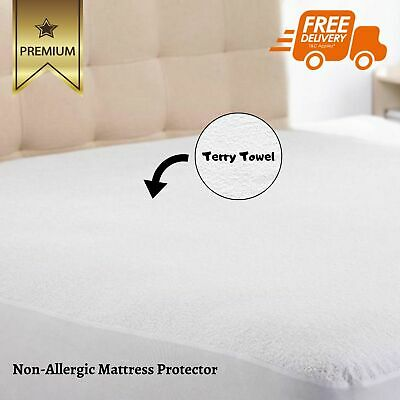 """Waterproof Terry Towel Mattress Protector Extra Deep Fitted Sheet 12"""" (King)"""