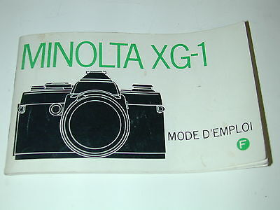NOTICE MINOLTA XG-1 en FRANCAIS  photo photographie