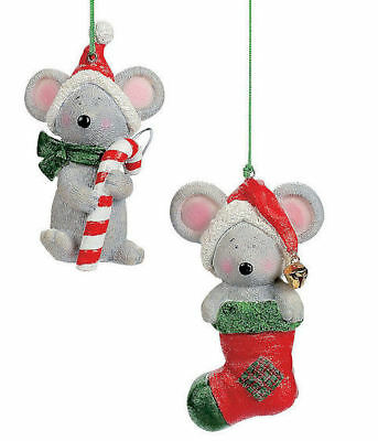 3 MICE w/Stocking hats MOUSE CHRISTMAS TREE ORNAMENTS Peppermint