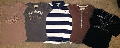 HOLLISTER & AE S/S Logo Shirt LOT (5) -  Size: S Small Jrs/Women's