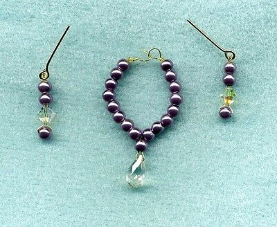 Barbie Doll Jewelry Lavender Pearl W/ Crystal Necklace & Earrings Set - Linhill