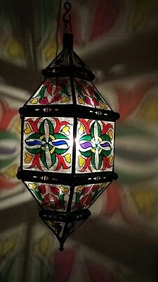 Moroccan  painted glass chandelier, Moorish lantern, art deco, lamp,