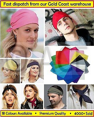 BANDANA 100% Cotton Plain Bandanas Headwrap Scarf Biker Mask Durag Headband