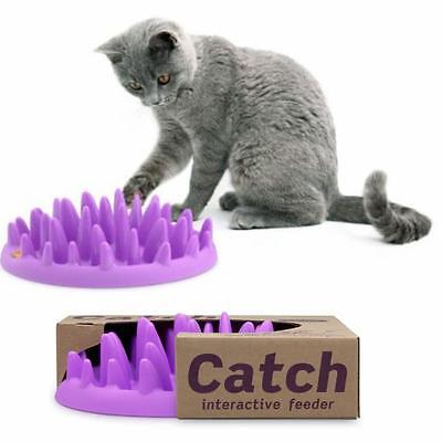 Catch Interactive Cat Kitten Slow Feed Bloat Non Slip Toy Treat Feeder Bowl