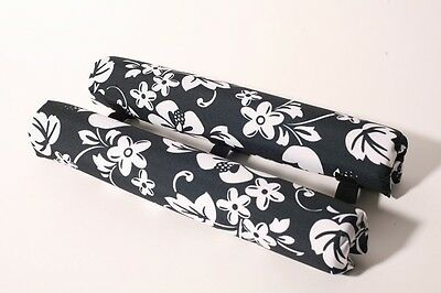 """Vitamin Blue 18"""" Roof Rack Pads - Non Logo Blk Floral (MADE in USA) REGULAR PADS"""