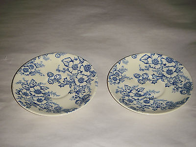 "VINTAGE PAIR 6"" TAYLOR SMITH TAYLOR CUP SAUCERS LARGE BLUE WILLOW FLORAL 6482"