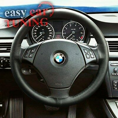 For Bmw E46 3 Series 98-06 Black Real Genuine Leather Steering Wheel Cover New