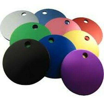 Aluminium Alloy Metal Round Cat Dog Id Pet Tags Disc 25mm Various Colours
