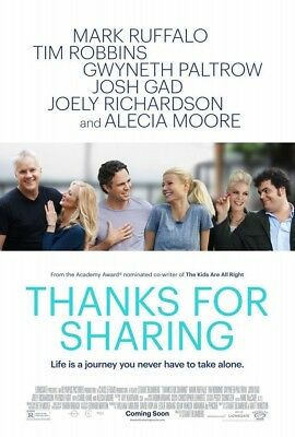 THANKS FOR SHARING MOVIE POSTER 2 Sided ORIGINAL 27x40 MARK RUFFALO