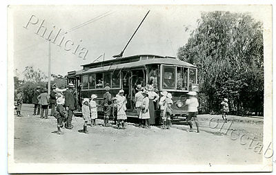 1917 Rp Npu Postcard First Mtt Tram To The Suburb Of Hilton West Of Adelaide C89