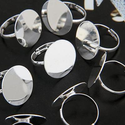 """10 Silver Plated Round Adjustable Ring Blanks Pad Base 0.8"""""""
