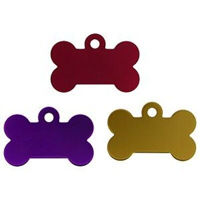 Aluminium Alloy Metal Bone Shape Cat Dog Id Pet Tags Disc 38mm Various Colours
