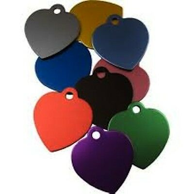 Aluminium Alloy Metal Heart Shape Cat Dog Id Pet Tags Disc 25mm Various Colours