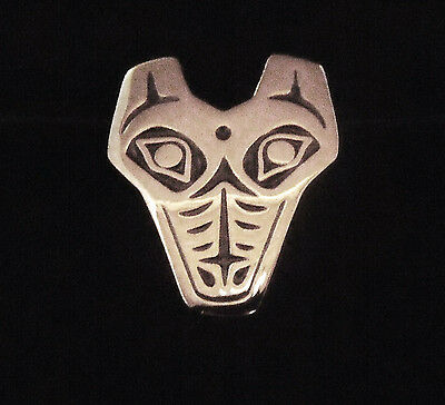 Northwest Coast Sterling Silver Wolf Head Pendant